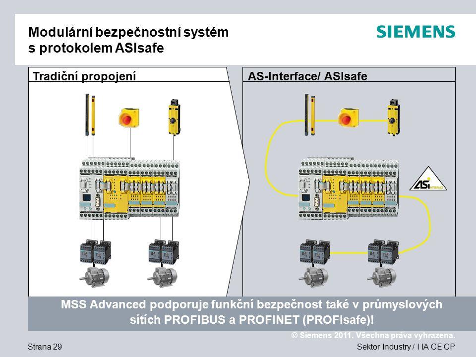 Modulární bezpečnostní systém s protokolem ASIsafe