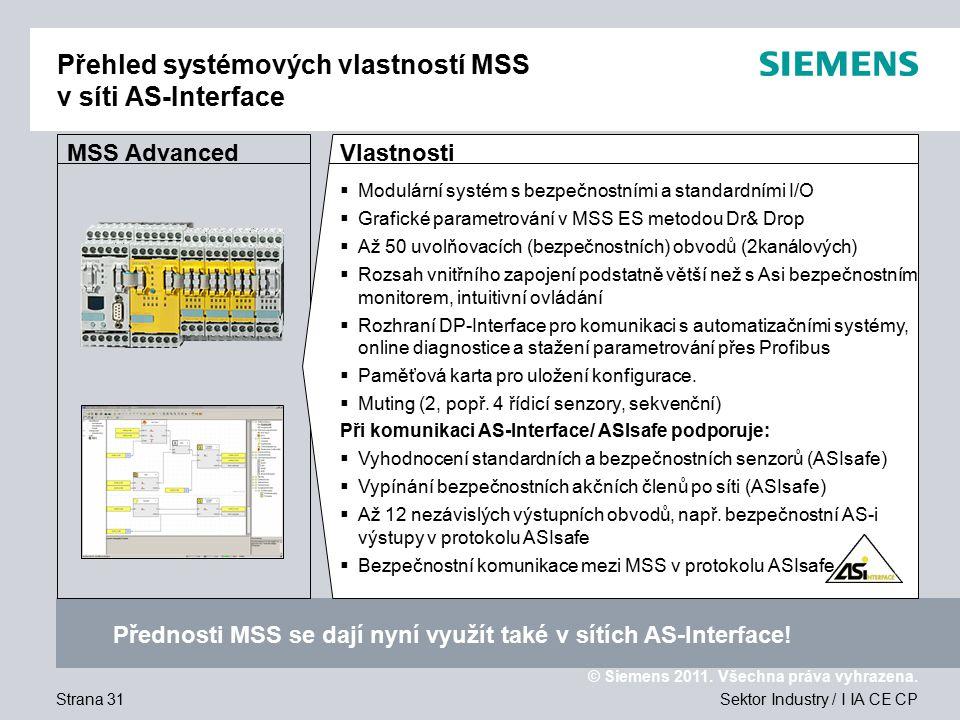 Přehled systémových vlastností MSS v síti AS-Interface