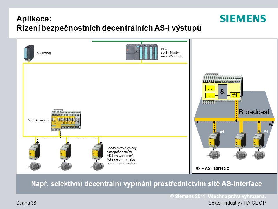 Aplikace: Řízení bezpečnostních decentrálních AS-i výstupů