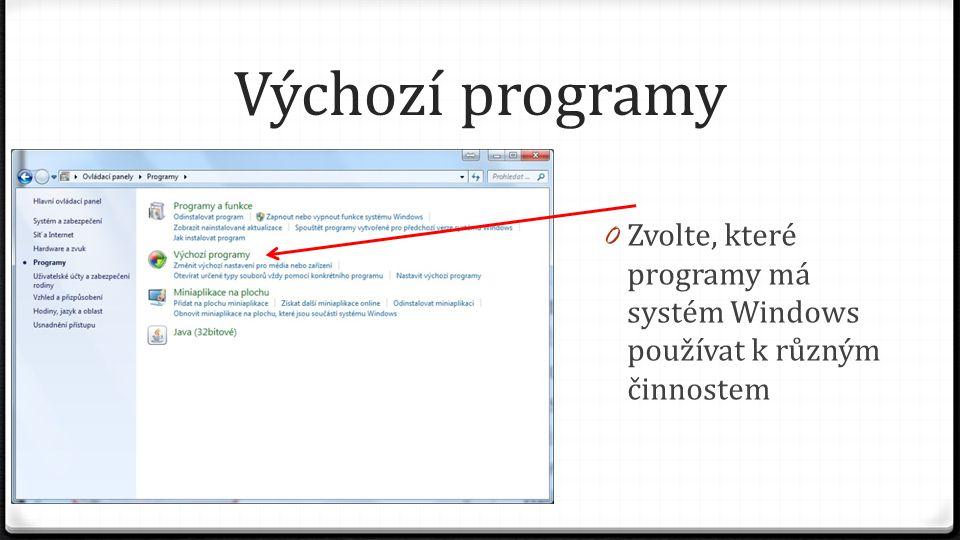 Výchozí programy Zvolte, které programy má systém Windows používat k různým činnostem