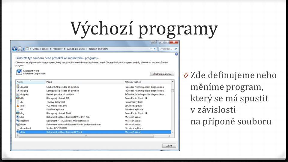 Výchozí programy Zde definujeme nebo měníme program, který se má spustit v závislosti na příponě souboru.