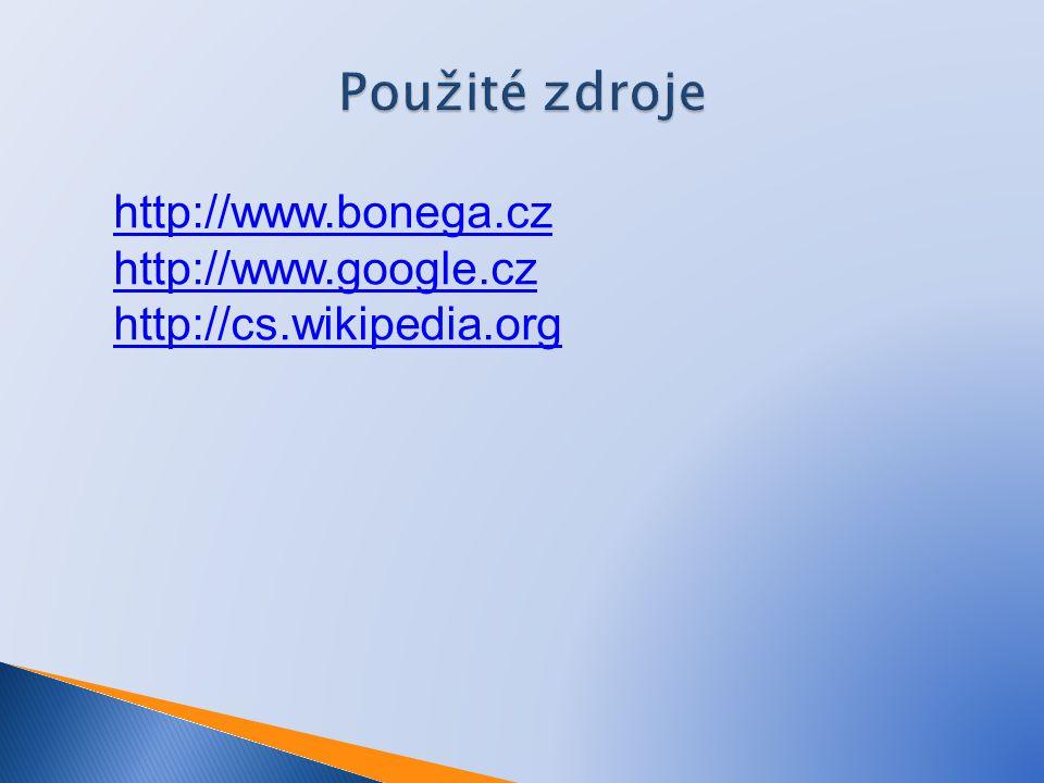 Použité zdroje http://www.bonega.cz http://www.google.cz
