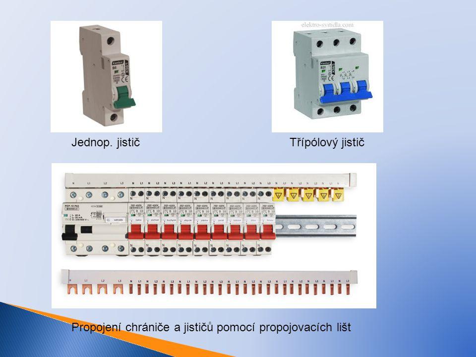 Jednop. jistič Třípólový jistič Propojení chrániče a jističů pomocí propojovacích lišt