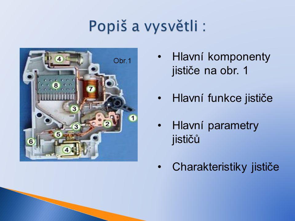 Popiš a vysvětli : Hlavní komponenty jističe na obr. 1