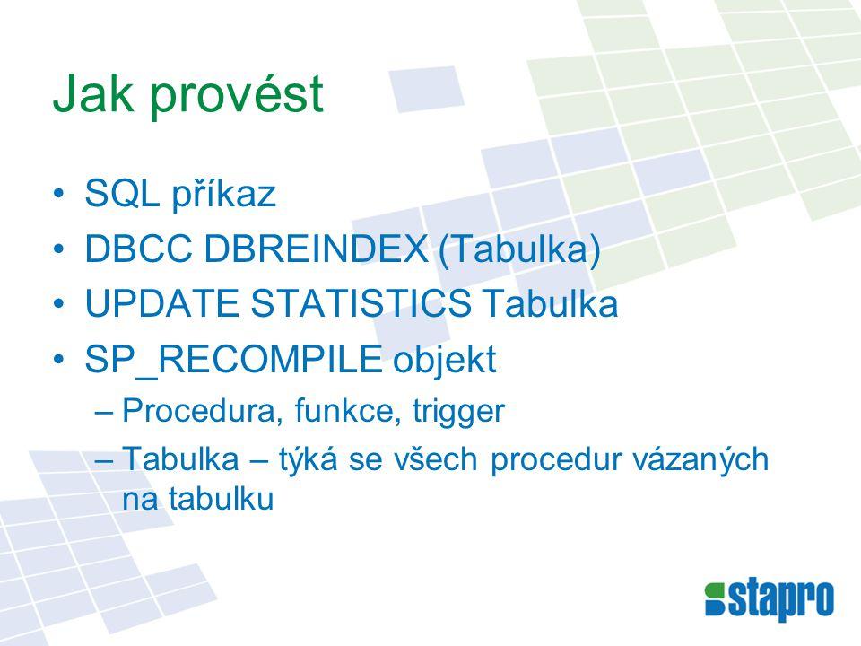 Jak provést SQL příkaz DBCC DBREINDEX (Tabulka)