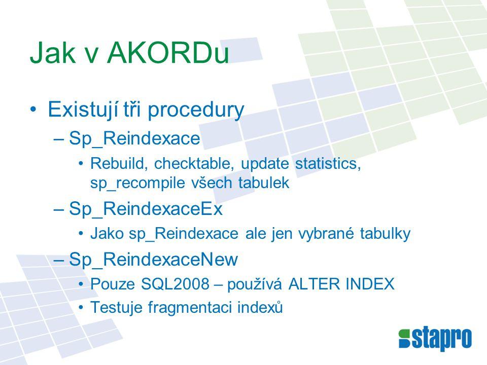 Jak v AKORDu Existují tři procedury Sp_Reindexace Sp_ReindexaceEx