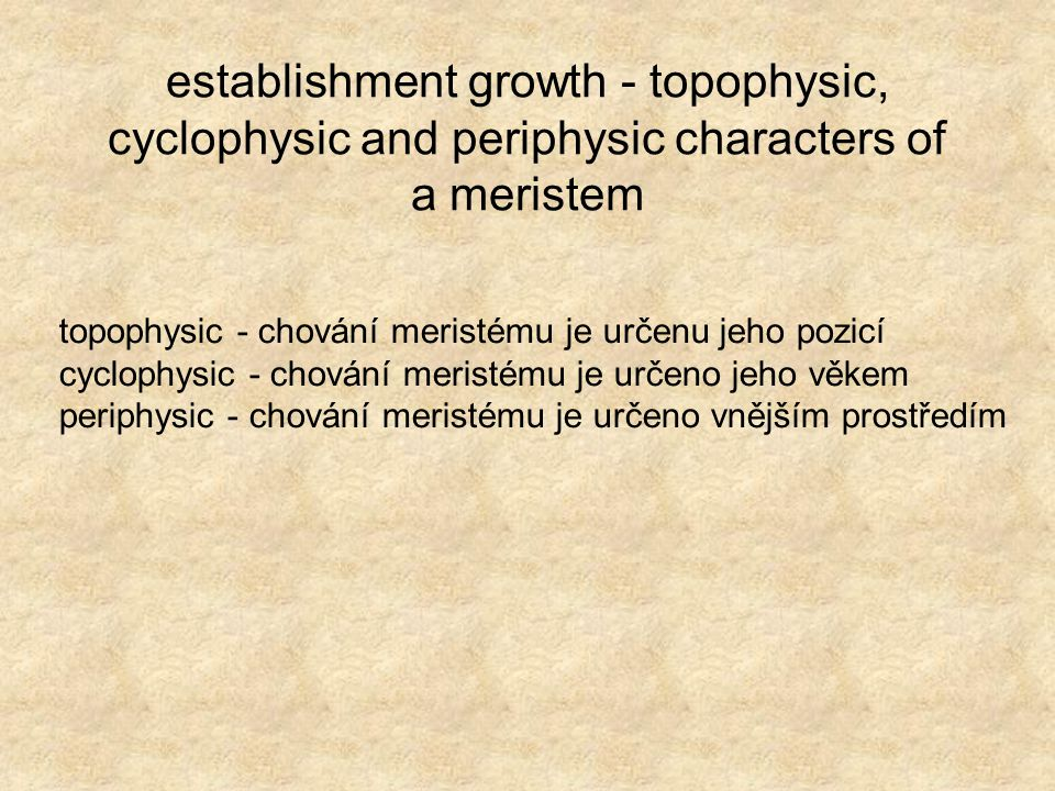 establishment growth - topophysic, cyclophysic and periphysic characters of a meristem