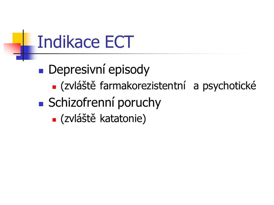 Indikace ECT Depresivní episody Schizofrenní poruchy