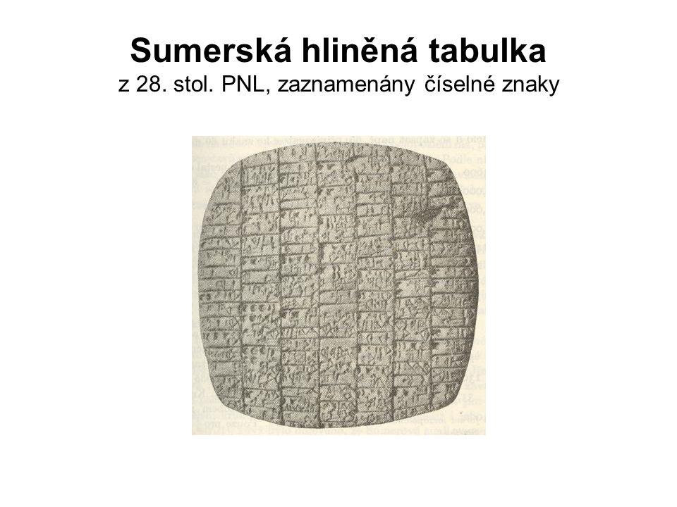Sumerská hliněná tabulka z 28. stol. PNL, zaznamenány číselné znaky
