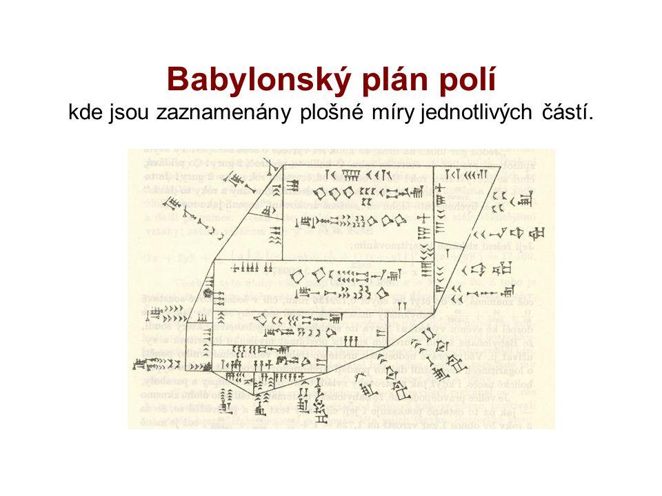 Babylonský plán polí kde jsou zaznamenány plošné míry jednotlivých částí.