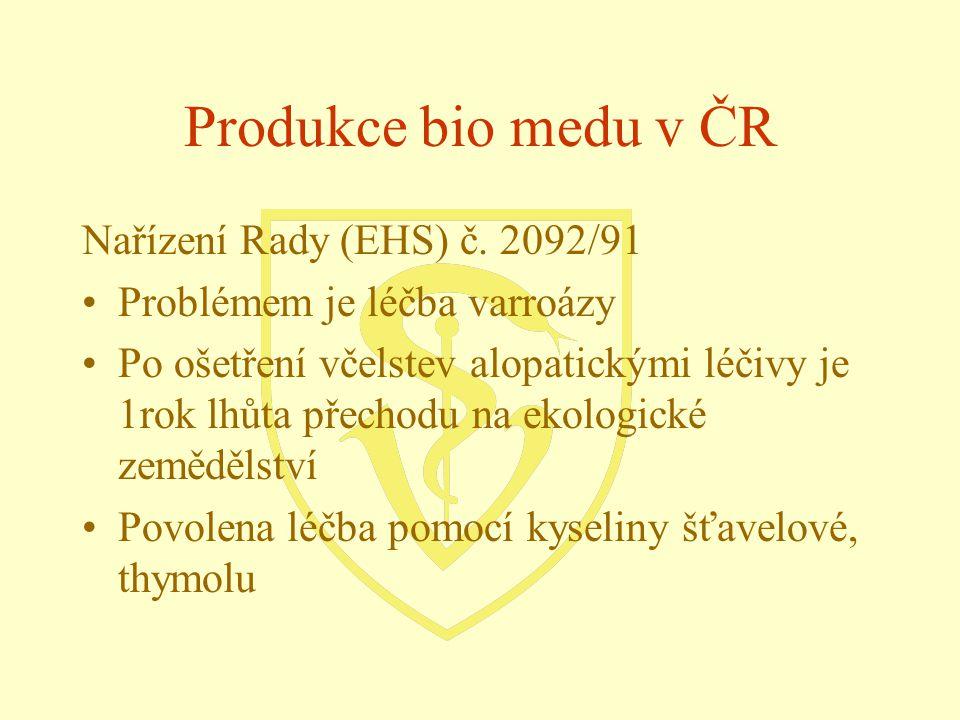 Produkce bio medu v ČR Nařízení Rady (EHS) č. 2092/91