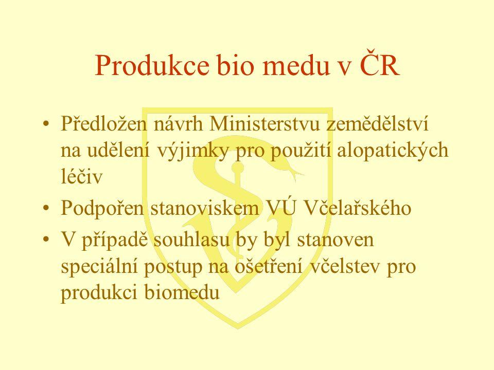 Produkce bio medu v ČR Předložen návrh Ministerstvu zemědělství na udělení výjimky pro použití alopatických léčiv.