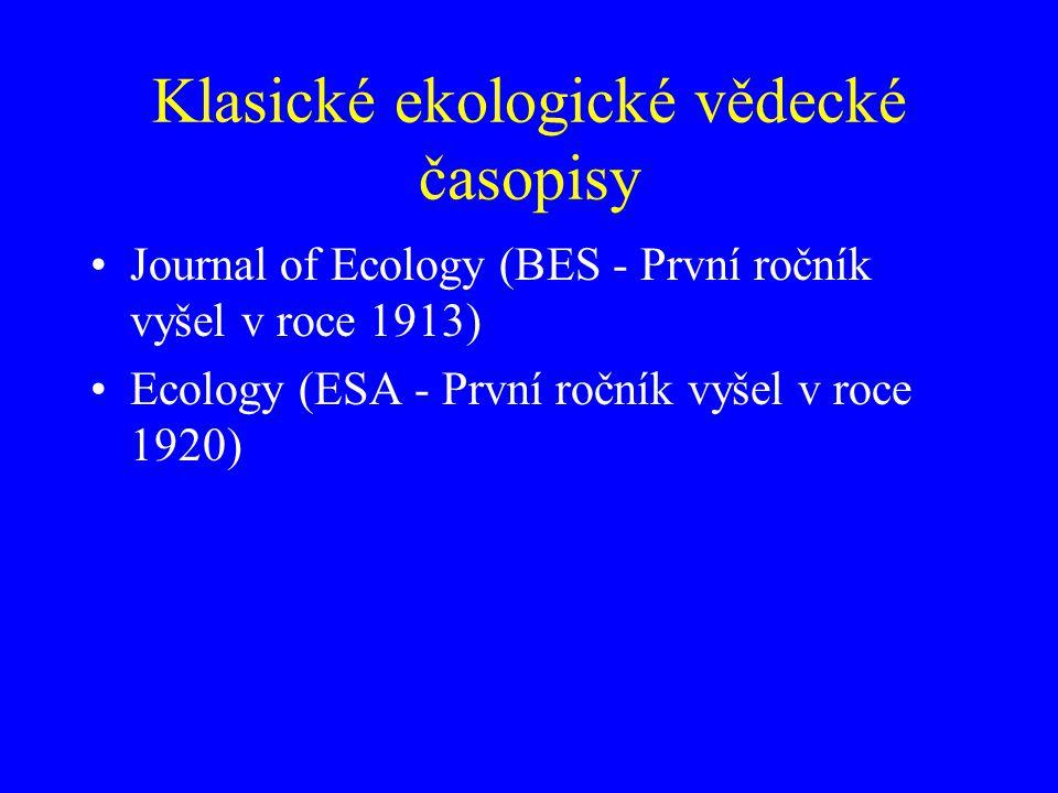 Klasické ekologické vědecké časopisy
