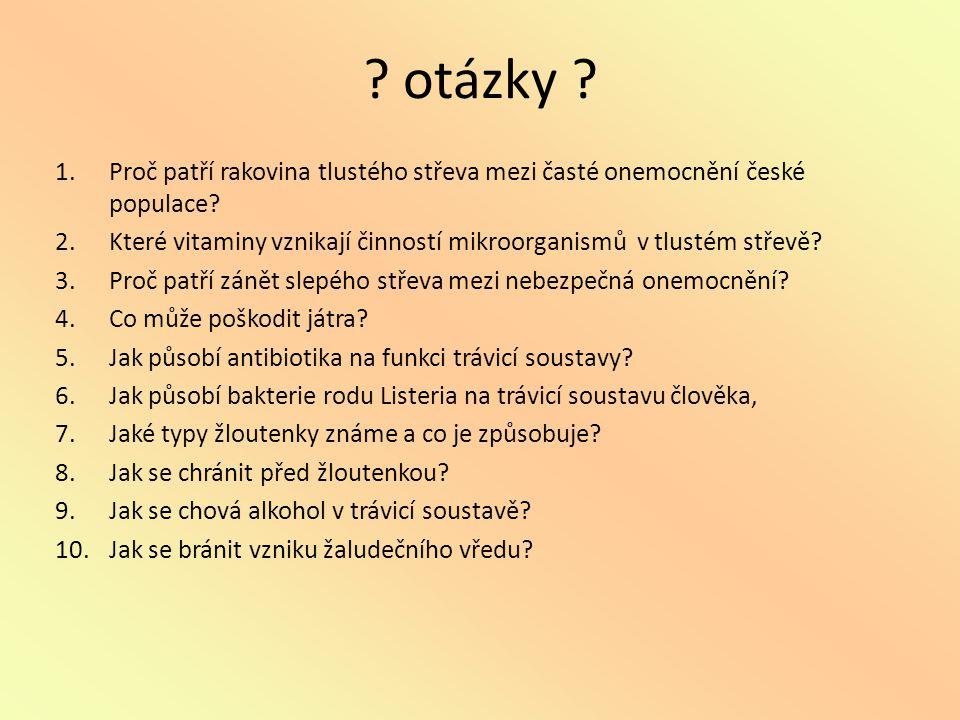 otázky Proč patří rakovina tlustého střeva mezi časté onemocnění české populace