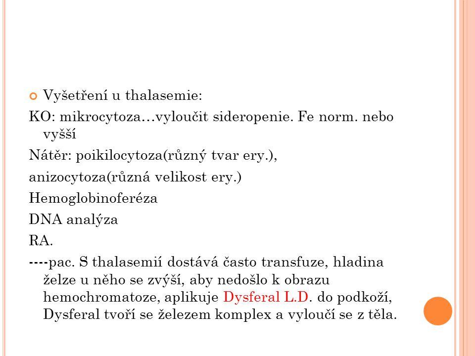 Vyšetření u thalasemie: