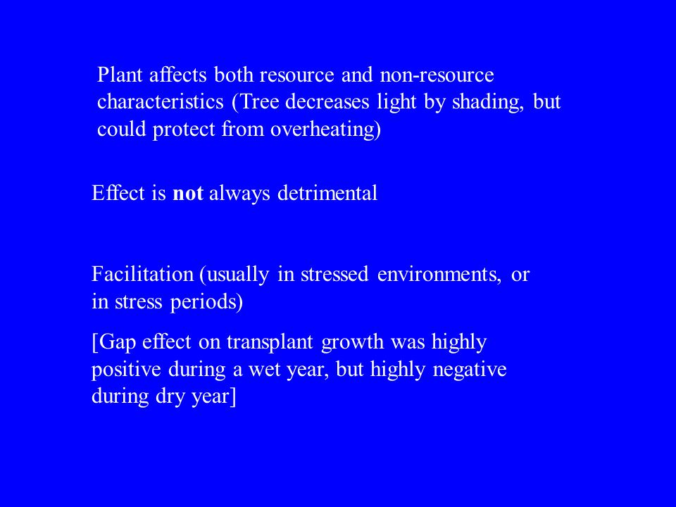 Plant affects both resource and non-resource characteristics (Tree decreases light by shading, but could protect from overheating)