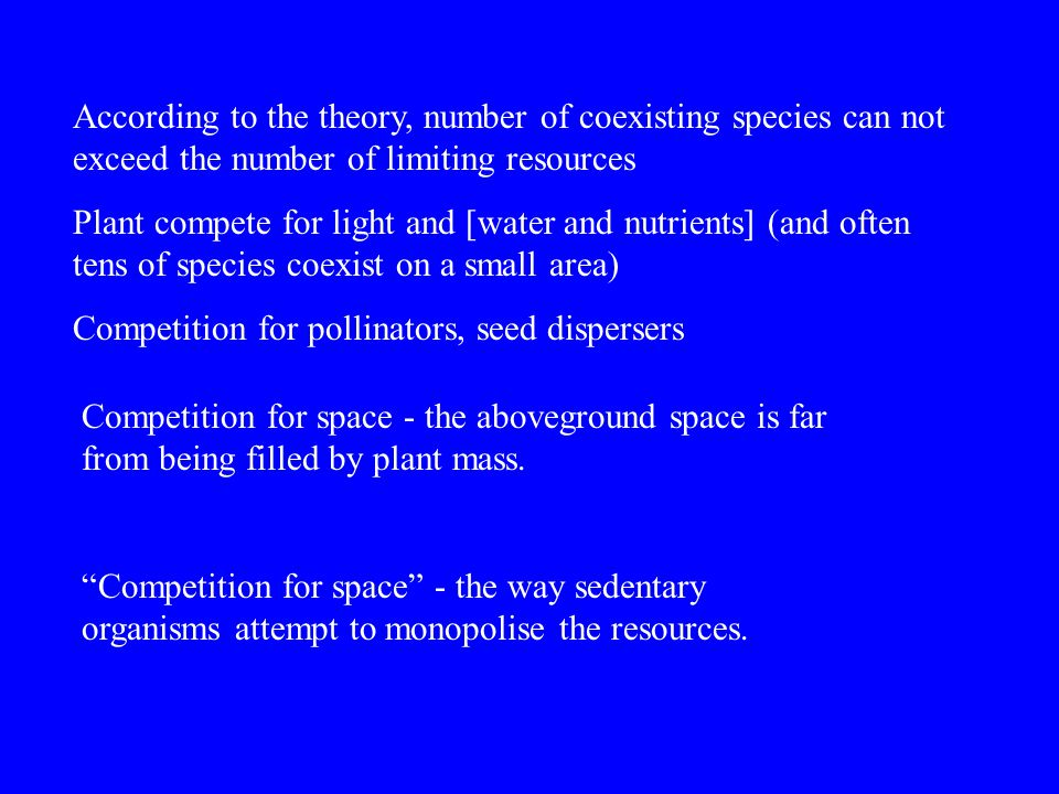 According to the theory, number of coexisting species can not exceed the number of limiting resources