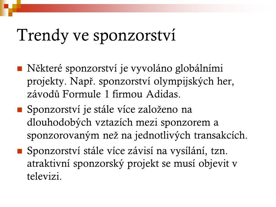 Trendy ve sponzorství Některé sponzorství je vyvoláno globálními projekty. Např. sponzorství olympijských her, závodů Formule 1 firmou Adidas.