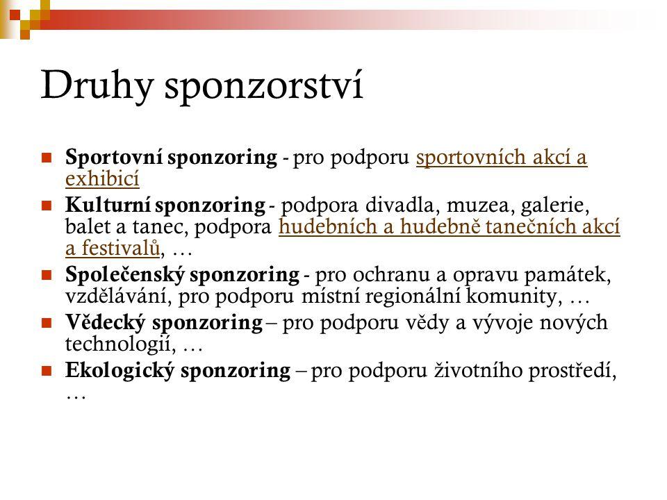 Druhy sponzorství Sportovní sponzoring - pro podporu sportovních akcí a exhibicí.
