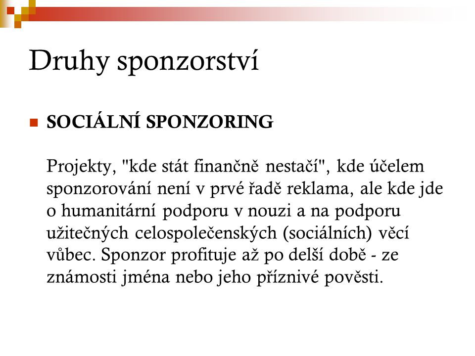 Druhy sponzorství