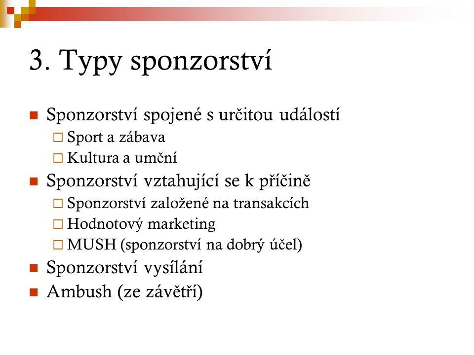 3. Typy sponzorství Sponzorství spojené s určitou událostí