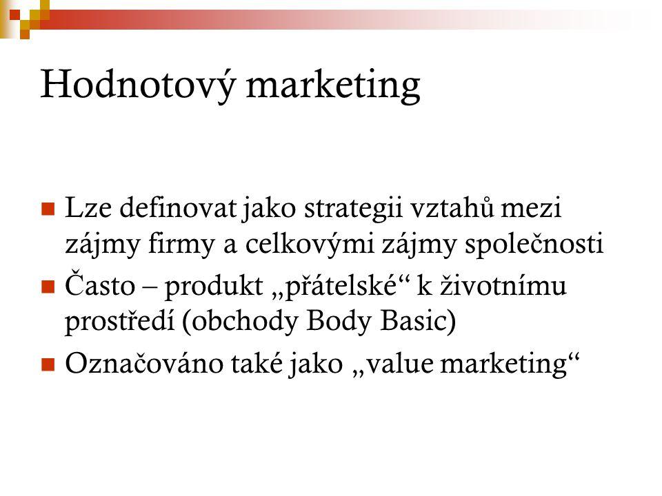 Hodnotový marketing Lze definovat jako strategii vztahů mezi zájmy firmy a celkovými zájmy společnosti.