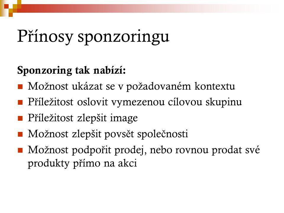 Přínosy sponzoringu Sponzoring tak nabízí: