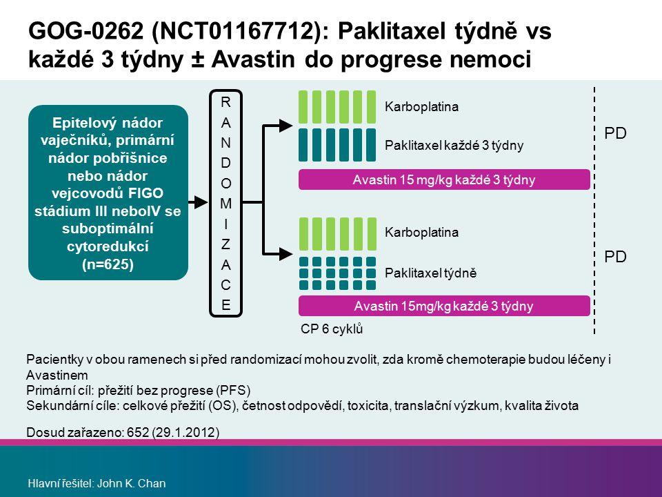 GOG-0262 (NCT01167712): Paklitaxel týdně vs každé 3 týdny ± Avastin do progrese nemoci