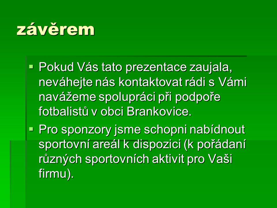 závěrem Pokud Vás tato prezentace zaujala, neváhejte nás kontaktovat rádi s Vámi navážeme spolupráci při podpoře fotbalistů v obci Brankovice.