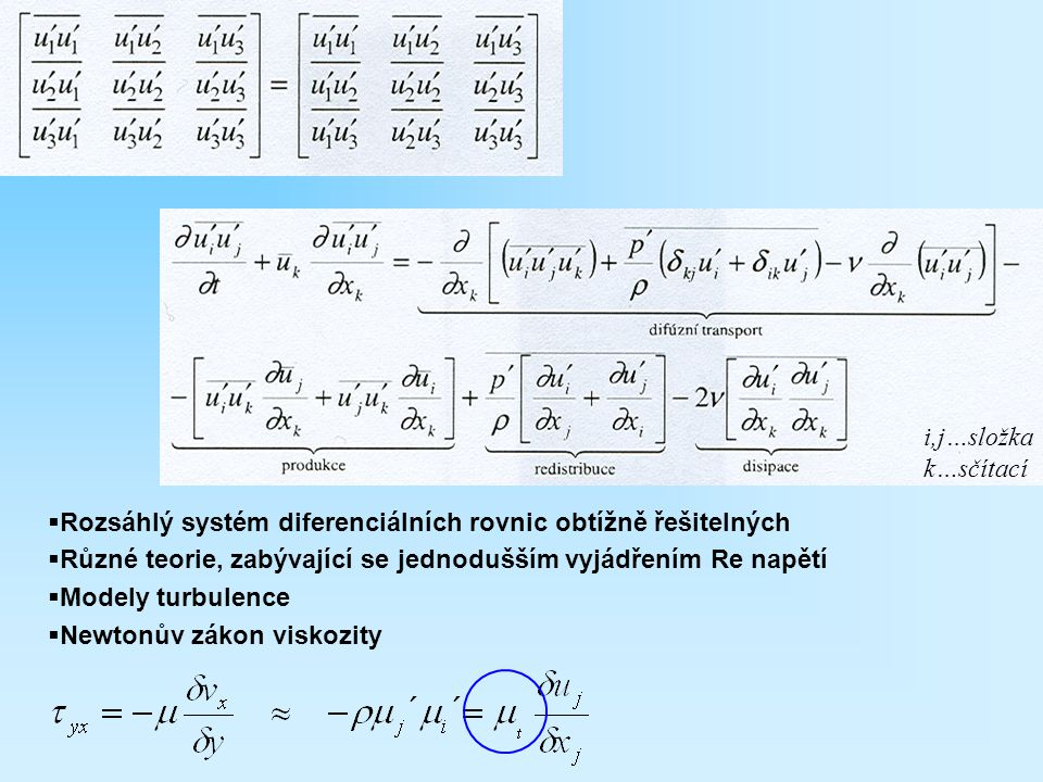 i,j…složka k…sčítací. Rozsáhlý systém diferenciálních rovnic obtížně řešitelných. Různé teorie, zabývající se jednodušším vyjádřením Re napětí.