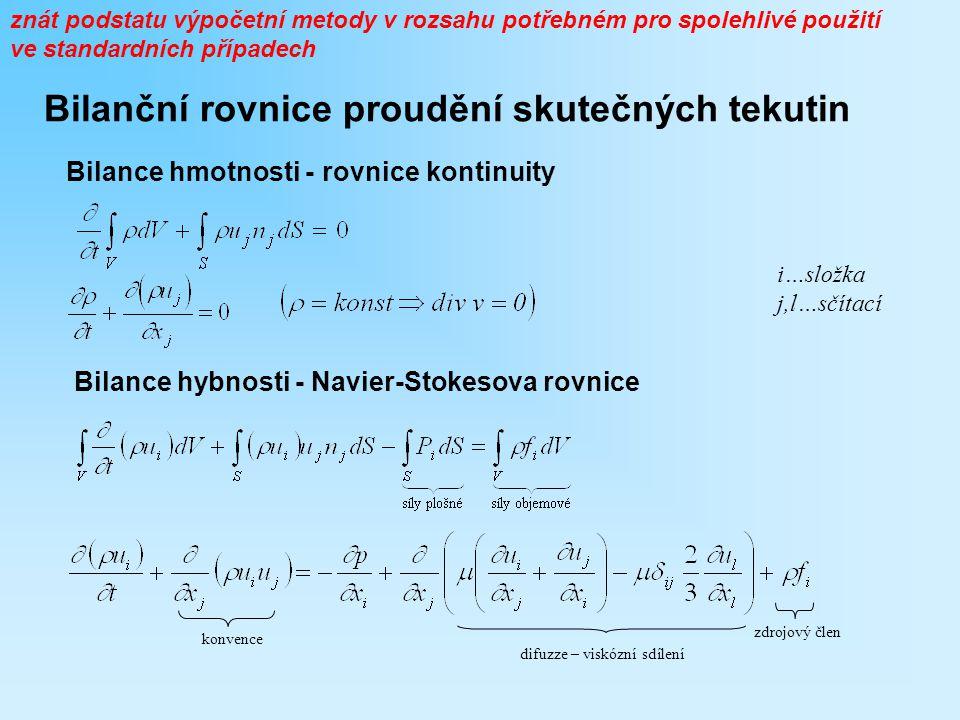 Bilanční rovnice proudění skutečných tekutin