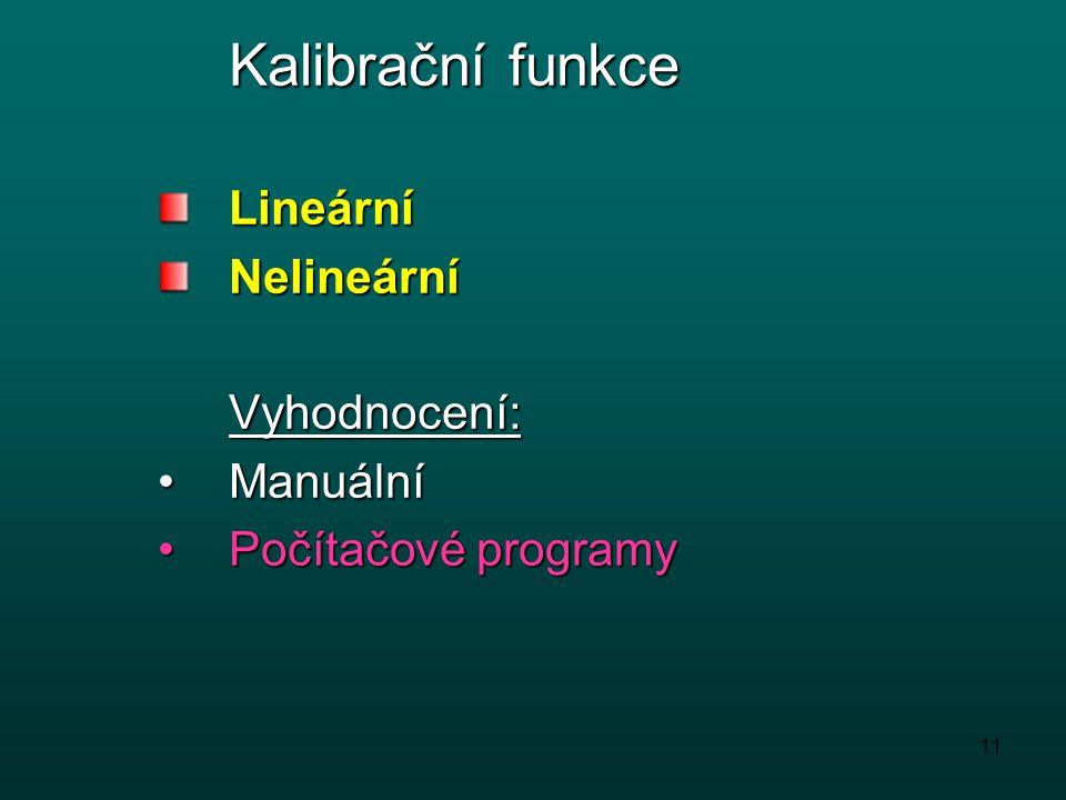 Kalibrační funkce Lineární Nelineární Vyhodnocení: Manuální Počítačové programy