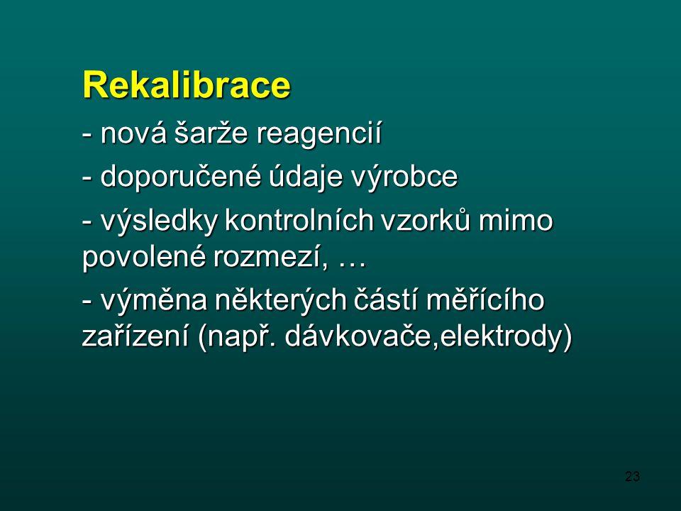 Rekalibrace - nová šarže reagencií - doporučené údaje výrobce