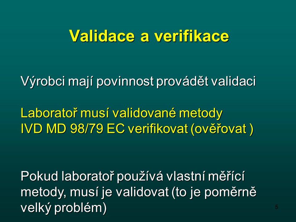 Validace a verifikace Výrobci mají povinnost provádět validaci
