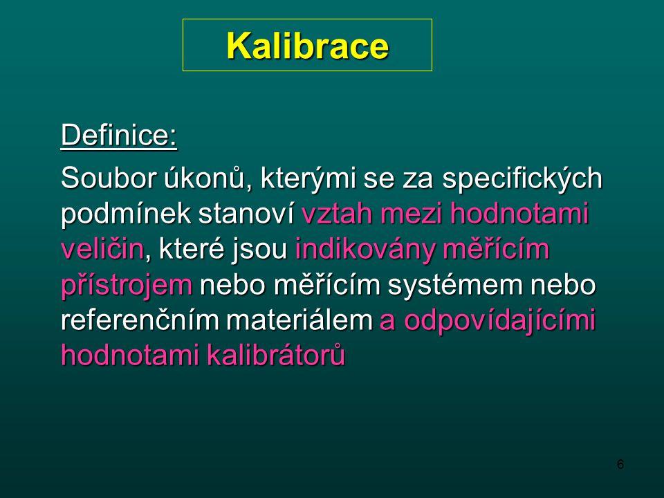 Kalibrace Definice: