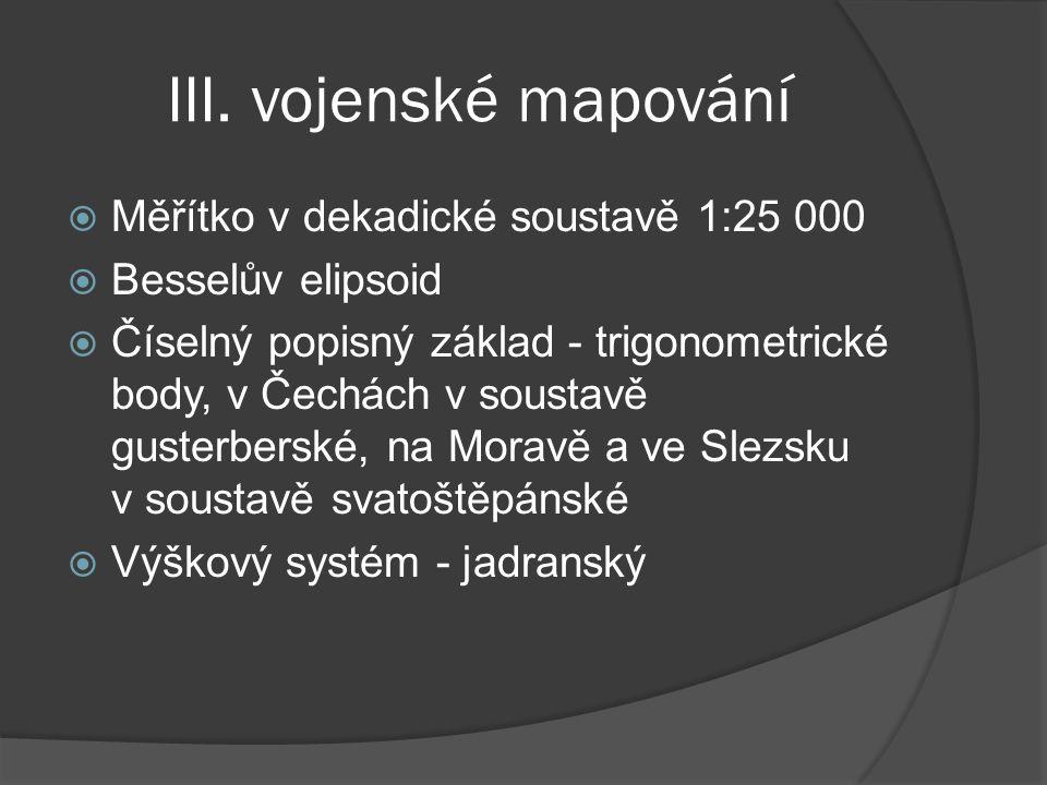 III. vojenské mapování Měřítko v dekadické soustavě 1:25 000
