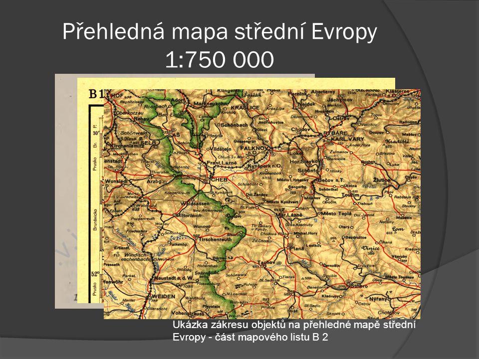 Přehledná mapa střední Evropy 1:750 000