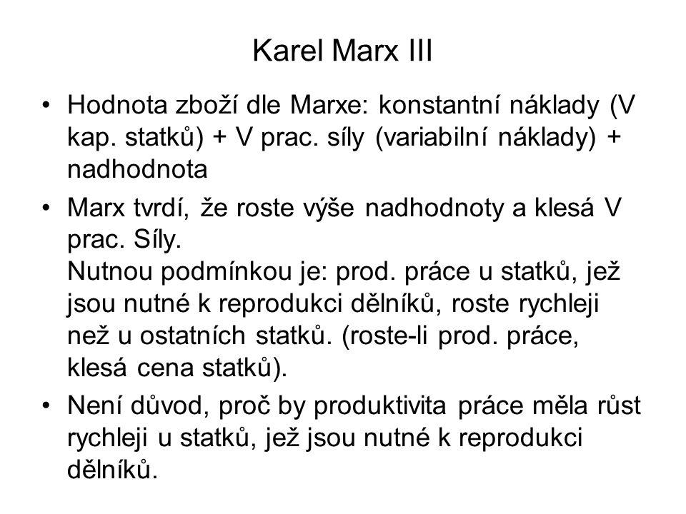 Karel Marx III Hodnota zboží dle Marxe: konstantní náklady (V kap. statků) + V prac. síly (variabilní náklady) + nadhodnota.