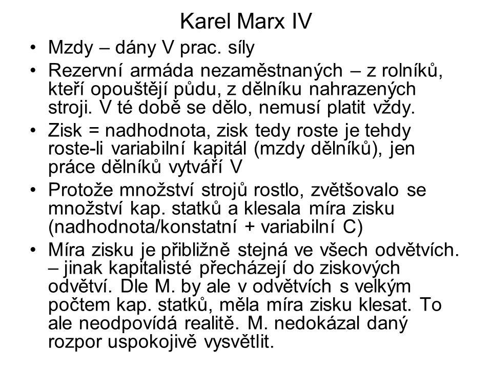 Karel Marx IV Mzdy – dány V prac. síly