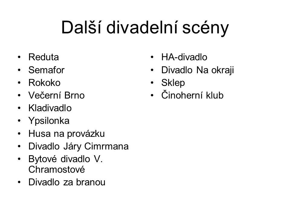 Další divadelní scény Reduta Semafor Rokoko Večerní Brno Kladivadlo