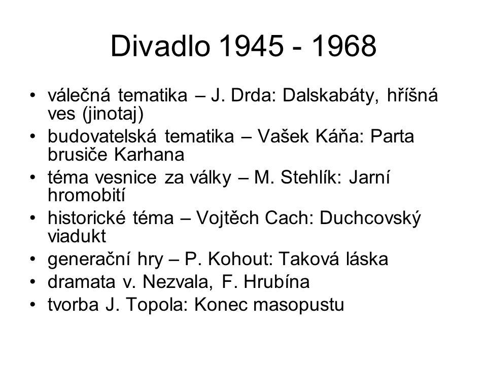 Divadlo 1945 - 1968 válečná tematika – J. Drda: Dalskabáty, hříšná ves (jinotaj) budovatelská tematika – Vašek Káňa: Parta brusiče Karhana.