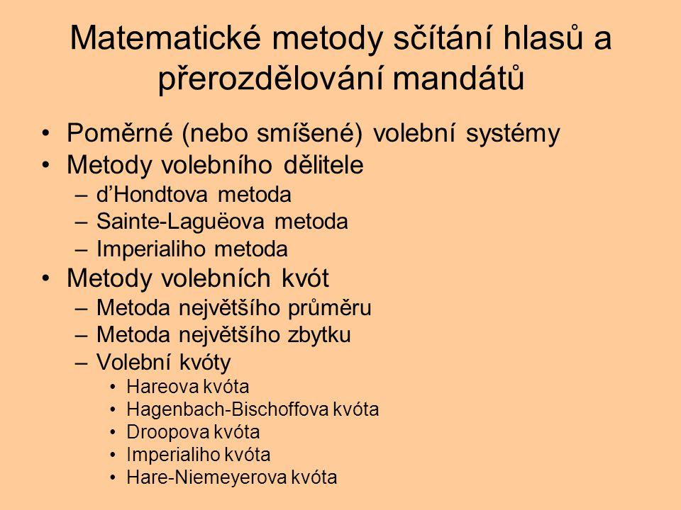 Matematické metody sčítání hlasů a přerozdělování mandátů
