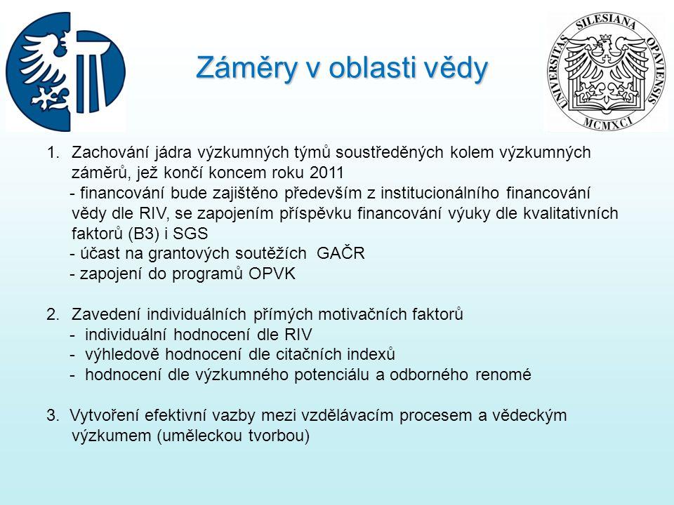Záměry v oblasti vědy Zachování jádra výzkumných týmů soustředěných kolem výzkumných záměrů, jež končí koncem roku 2011.