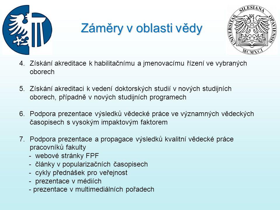 Záměry v oblasti vědy Získání akreditace k habilitačnímu a jmenovacímu řízení ve vybraných oborech.