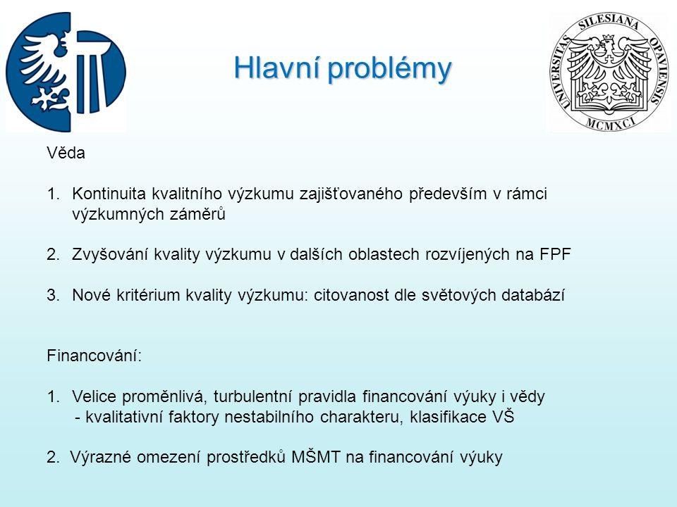 Hlavní problémy Věda. Kontinuita kvalitního výzkumu zajišťovaného především v rámci výzkumných záměrů.