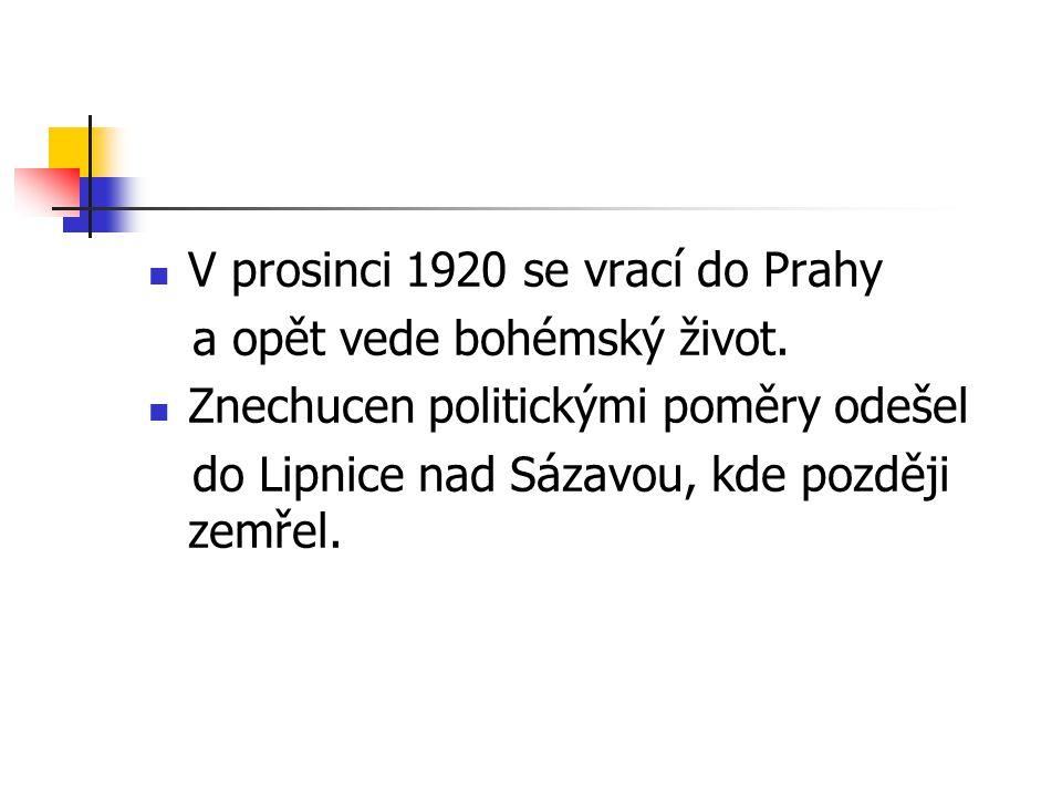 V prosinci 1920 se vrací do Prahy