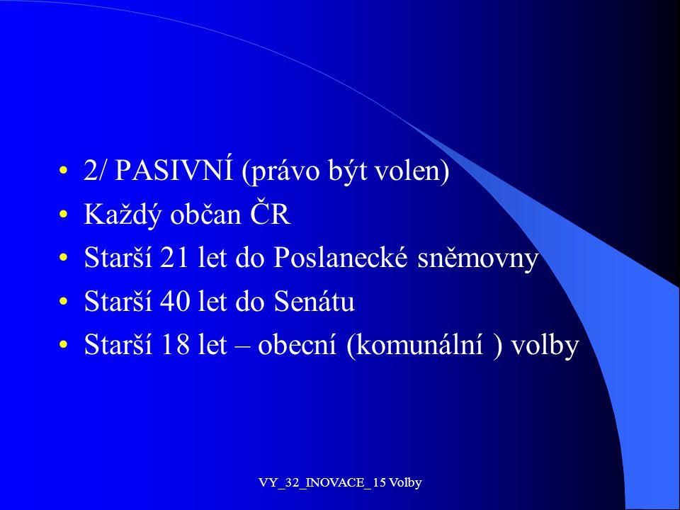 2/ PASIVNÍ (právo být volen) Každý občan ČR