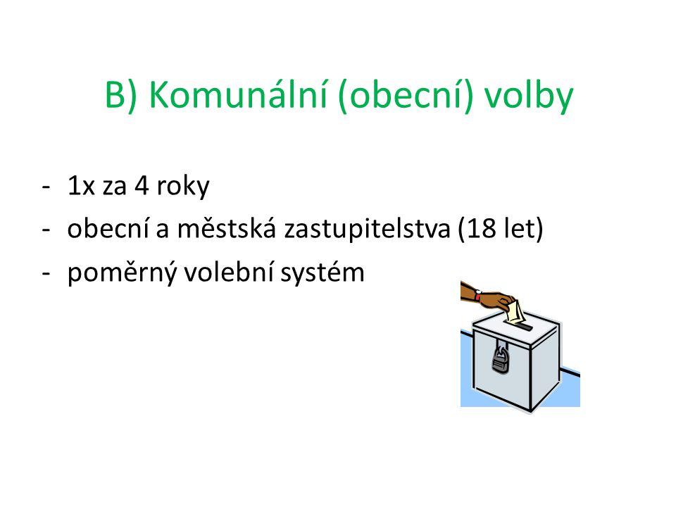 B) Komunální (obecní) volby