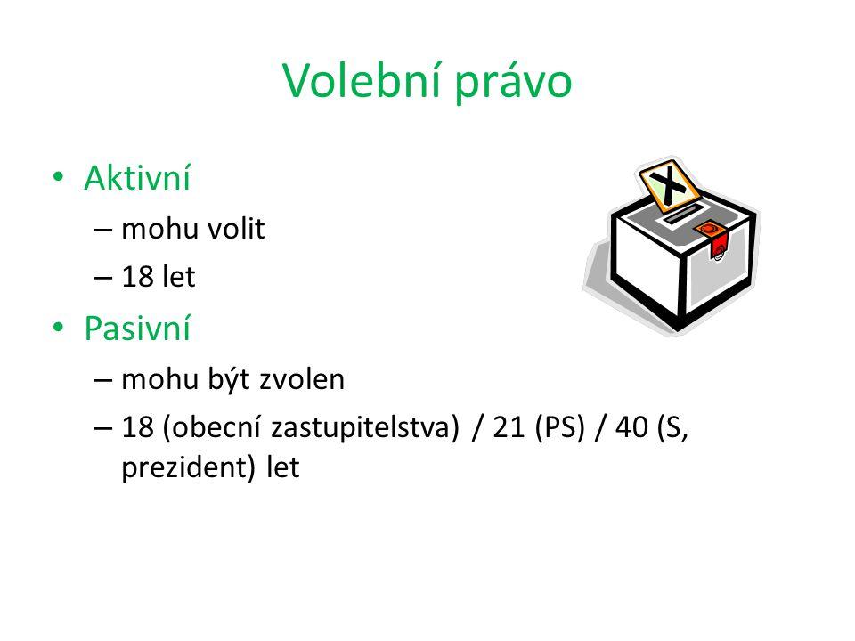 Volební právo Aktivní Pasivní mohu volit 18 let mohu být zvolen