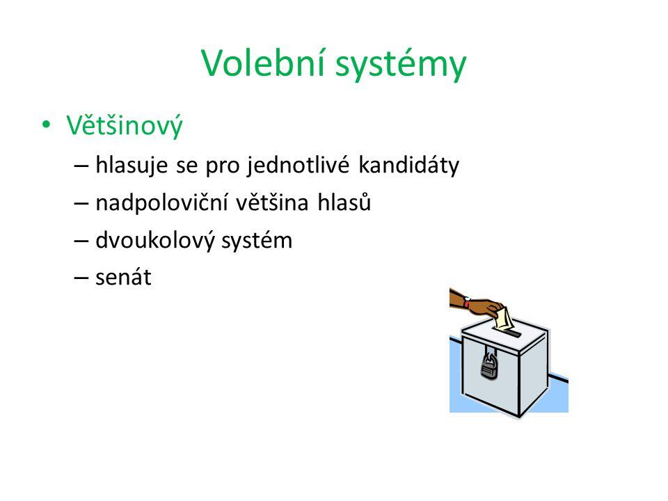 Volební systémy Většinový hlasuje se pro jednotlivé kandidáty
